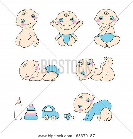 Set of baby boy. Vector illustration