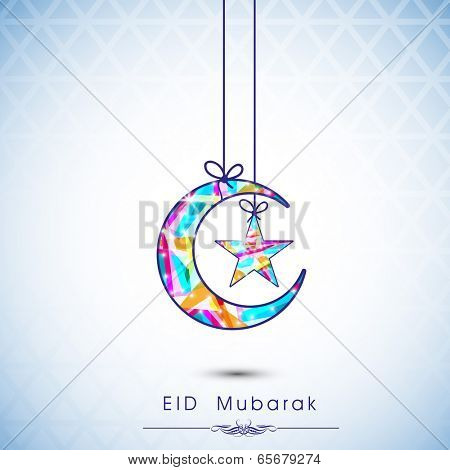 Colorful moon and star hanging by ribbon on shiny blue background, Beautiful greeting card design for celebration of Muslim community festival Eid Mubarak.