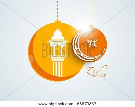 Stylish sticky design with mosque and crescent moon on grey background for Muslim community festival Eid Mubarak celebration.