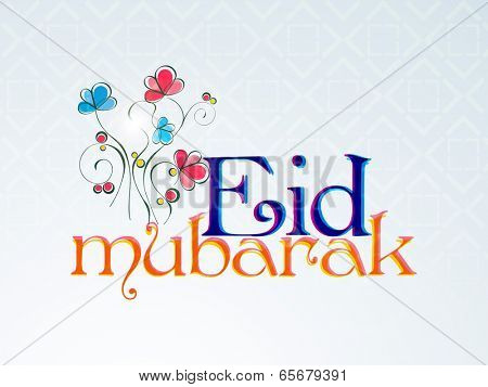 Beautiful greeting card decorated with colorful flowers and stylish text Eid Mubarak on blue seamless pattern background.