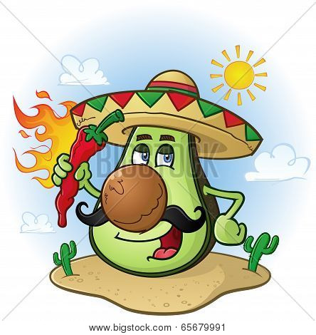 Avocado Mexican Cartoon Character a Holding Hot Chili Pepper