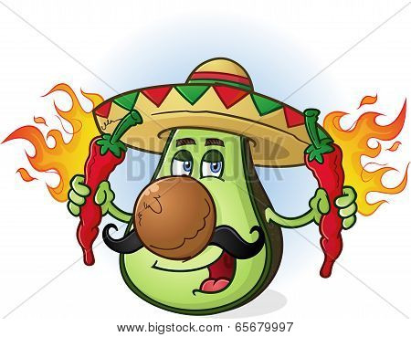 Avocado Mexican Cartoon Character Holding Hot Chili Peppers