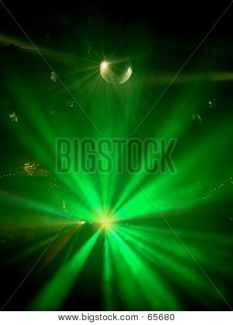 Green Party Lights. green colored strobe lights at night club