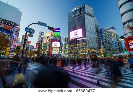 Tokyo - November 28, 2013: Pedestrians At The Famed Crossing Of Shibuya