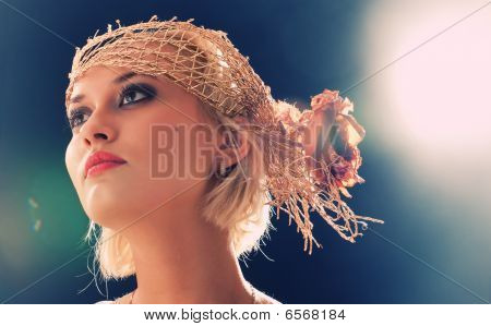 Portrait Of Beautiful Retro-style Woman In Bonnet