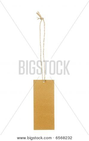 Blank brown paper tag tied with brown string