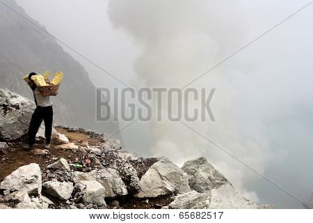 Sulfur mining in Ijen
