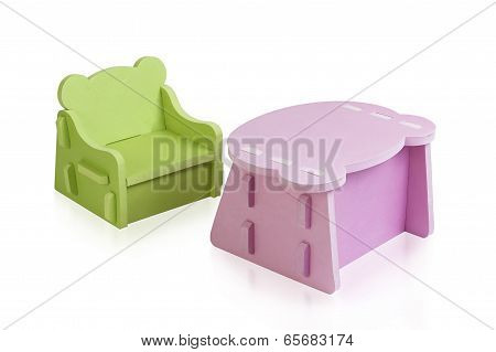 rubber foam desk and chair