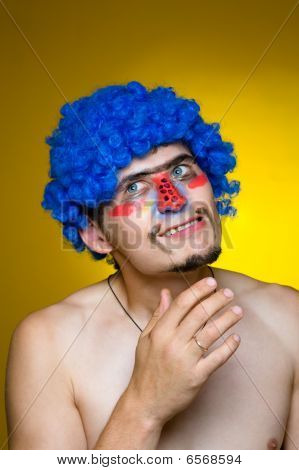 Clown In A Blue Wig, Expressing Surprise