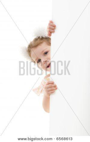 Caucasian Girl Holding A Blank