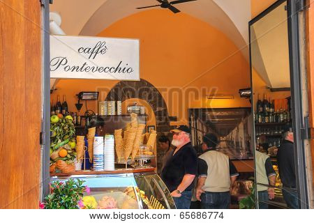 Visitors To The Cafe Gelato In Florence. Italy