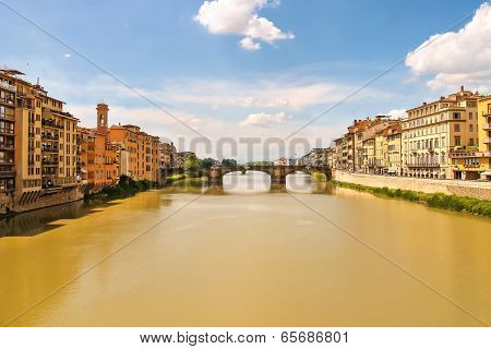Ponte Santa Trinita Bridge Over The Arno River  In Florence, Italy.
