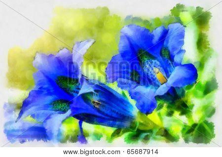 Illustration Of Trumpet Gentiana Blue Spring Flower In Garden