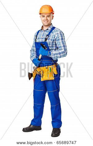 Young Male Construction Worker With Hammer