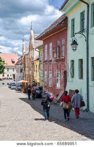 Street in medieval Sighisoara