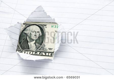 Lined Paper Torn With Window Opening Showing US Dollar