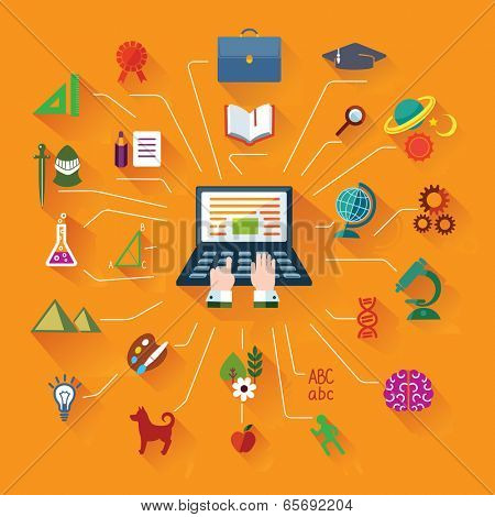 Flat icons and web design banner. Modern Education with internet.