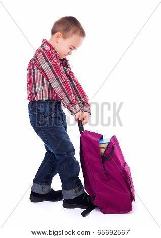 Little Boy With Heavy Schoolbag