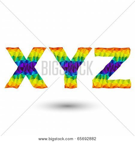Triangular letters xyz