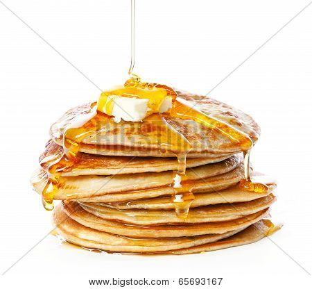 Small Pancakes In Syrup