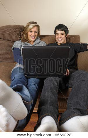 Teenagers Browsing Internet