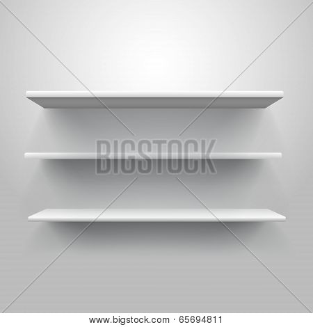 Realistic Triple Book Shelf Template Vector Illustration