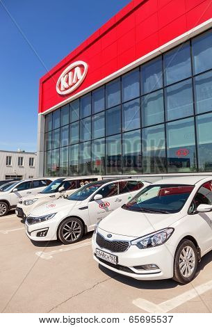 Samara, Russia - May 24, 2014: Office Of Official Dealer Kia Motors. Kia Motors Is South Korea's Sec