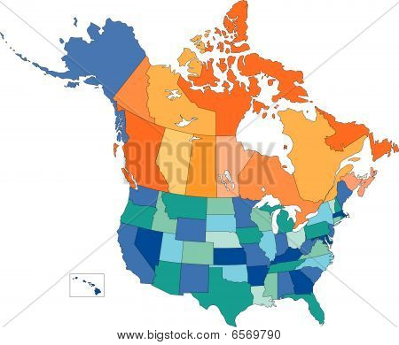 USA and Canada, States and Provinces, Multi Colors