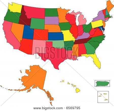 USA 50 States in Color, with Puerto Rico and Virgin Islands