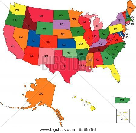 USA 50 States with 2 Letter State Names
