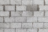 image of aeration  - Gray wall made of aerated concrete blocks background texture - JPG
