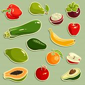 stock photo of papaya  - Vector illustration of fruits and vegetables - JPG
