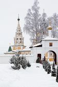 stock photo of uglich  - White church in winter in Uglich in Russia - JPG