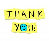 picture of thankful  - The words Thank You written on yellow sticky notes - JPG