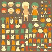 picture of baby doll  - vector collection of  baby icons - JPG