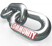 stock photo of coexist  - Community word on chain links to illustrate diverse societies linked together - JPG