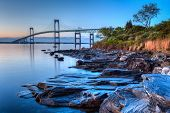 stock photo of shoreline  - This is a long exposure HDR of the illuminated Newport bridge from Taylor - JPG