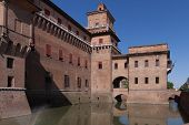picture of ferrara  - old Estense Castle in Ferrara in Italy - JPG