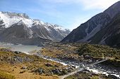 picture of hooker  - The swing bridge acrross the Hooker river and Valley in New Zealand - JPG