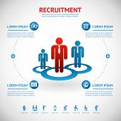picture of recruiting  - vector recruitment and human resource infographics template with space for text - JPG