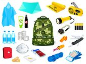 foto of survival  - Backpack and survival kit in case of the nature disasters - JPG