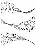 picture of divergent  - Set of three different wavy lines or staves of random scattered music notes in black and white  vector illutrsation - JPG