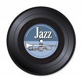 pic of trumpets  - Isolated vinyl record with a white trumpet and the word jazz written with white letters - JPG