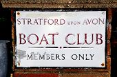 stock photo of avon  - Stratford upon Avon Boat Club sign Stratford - JPG