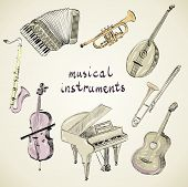 stock photo of sax  - hand drawn set of classical musical instruments - JPG
