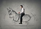 stock photo of bull-riding  - riding a donkey - JPG