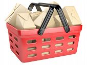 stock photo of movable  - Shopping cart full with boxes - JPG