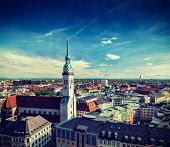 stock photo of munich residence  - Vintage retro effect filtered hipster style travel image of aerial view of Munich and St - JPG