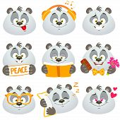 pic of pandas  - illustration set of funny and cute emoticons panda on white background - JPG