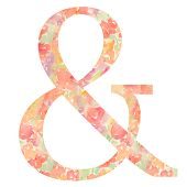 image of ampersand  - Ampersand With Floral Patterned Background - JPG